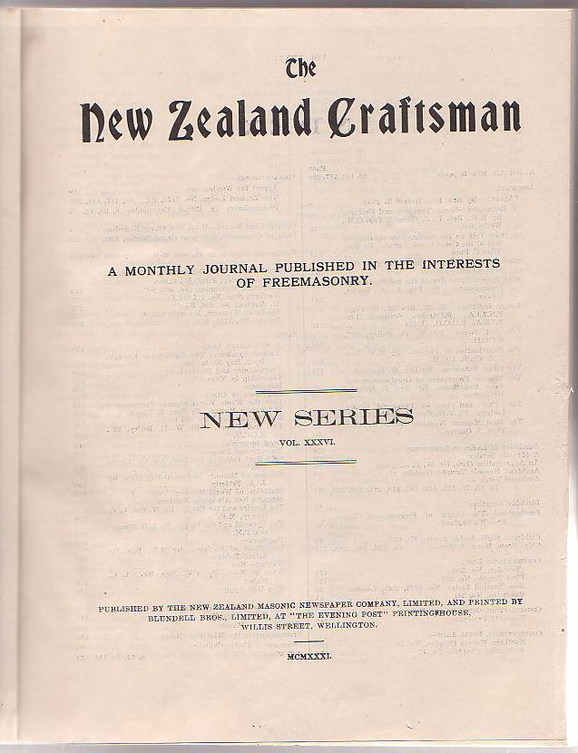 Image for The New Zealand Craftsman: A Monthly Journal Published in the Interests of Freemasonry. 1931.