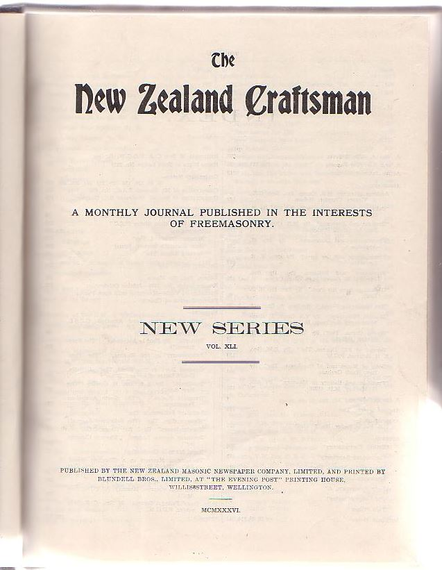 Image for The New Zealand Craftsman: A Monthly Journal Published in the Interests of Freemasonry. 1936.