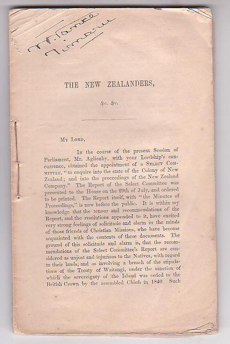 Image for The New Zealanders and their lands. The report of the Select Comittee of the House of Commons, on New Zealand, considered in a letter to Lord Stanley