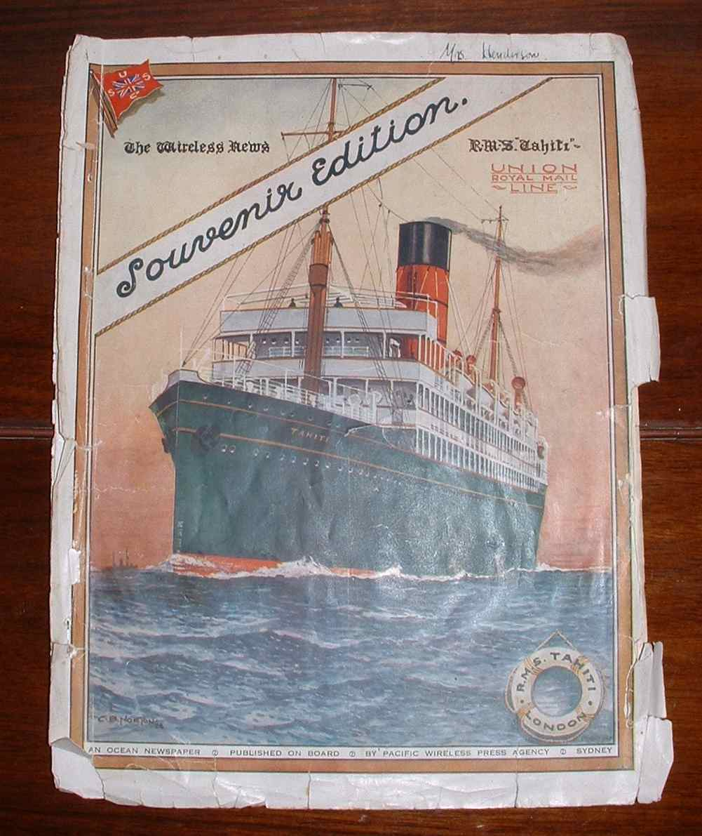 Image for The Wireless News. Souvenir Edition. R.M.S. Tahiti. Union Royal Mail Line