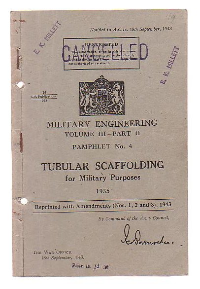 Image for Tubular Scaffolding for Military Purposes 1935