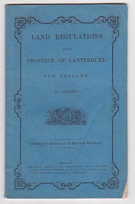 Image for Land Regulations of the Province of Canterbury, New Zealand, as Amended.