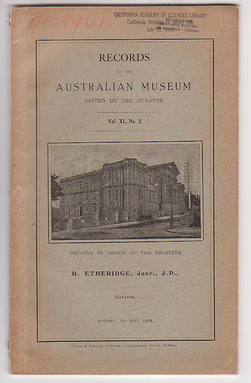 Image for Records of the Australian Museum. Vol. XI, No. 2.