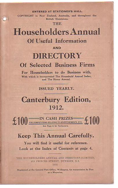 Image for The Householders Annual of Useful Information and Directory of Selected Business Firms For Householders to do Business with [. . .] Canterbury Edition, 1912.