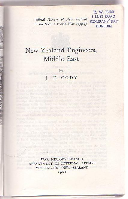 Image for New Zealand Engineers, Middle East [Series Title: Official History of New Zealand in the Second World War 1939-45]