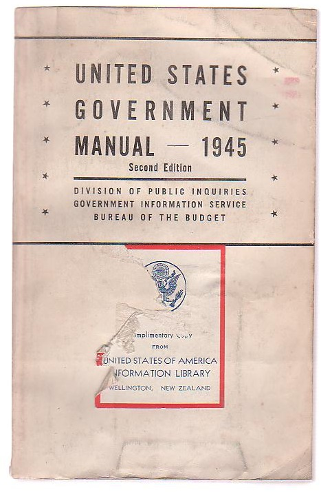 Image for United States Government Manual 1945 Second Edition (Revisions through September 20)