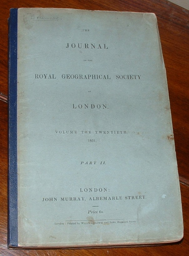 Image for Journal of the Royal Geographical Society of London. Volume the Twentieth. 1851. Part II.