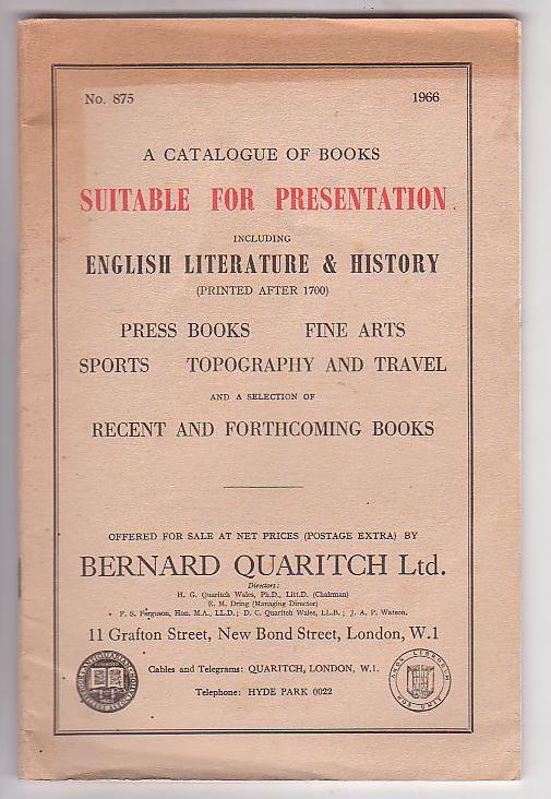 Image for A Catalogue of Books Suitable for Preservation including English Literature & History (Printed After 1700); Press Books; Fine Arts; Sports; Topography and Travel and a selection of Recent and Forthcoming Books