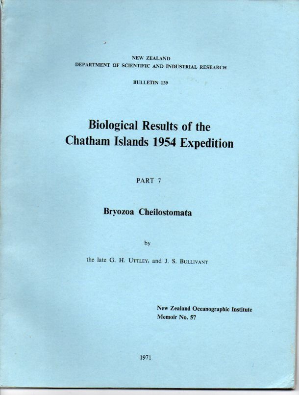 Image for Biological Results of the Chatham Islands 1954 Expedition Part 7: Bryozoa Cheilostomata