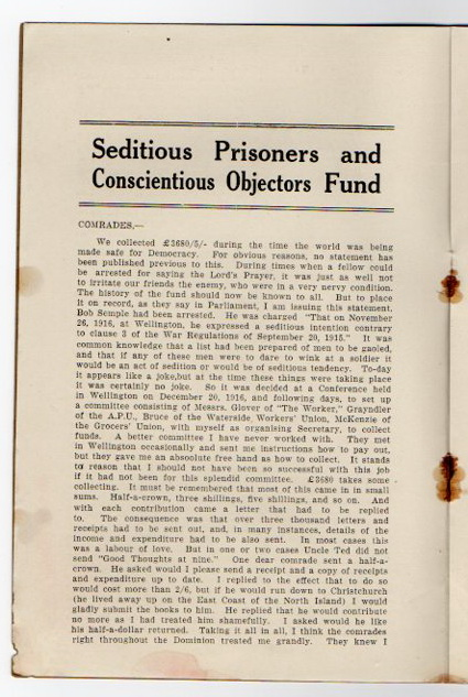 Image for Seditious Prisoners and Conscientious Objectors Fund.
