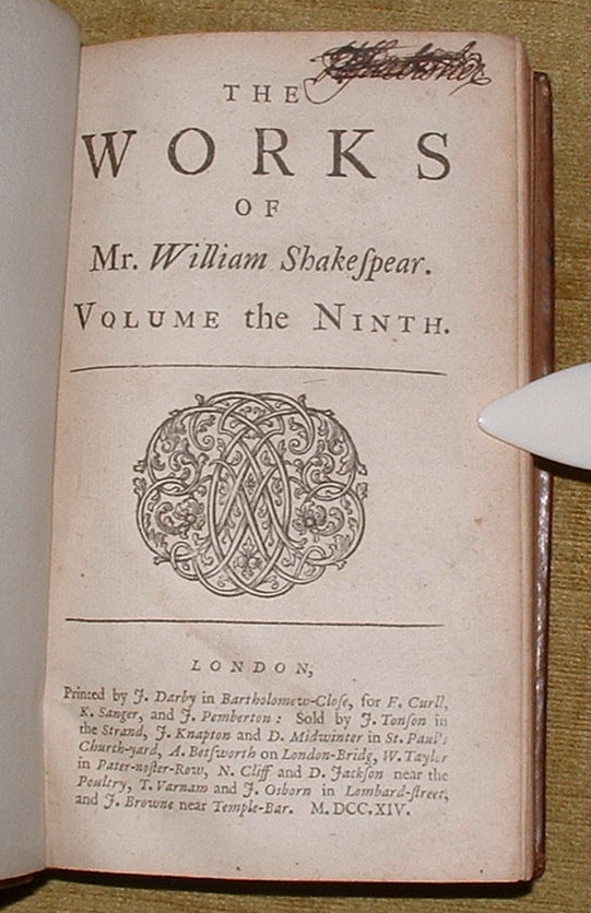 Image for The Works of William Shakespear. Volume the Ninth.