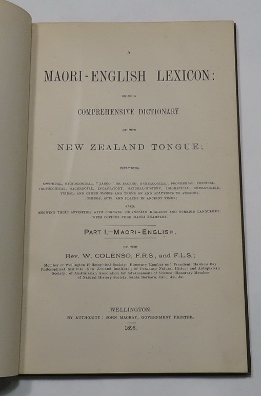 "Image for [Specimen] A Maori-English Lexicon: being a Comprehensive Dictionary of the New Zealand Tongue; Including Mythical, Mythological, ""Taboo"" or Sacred, Genealogical, Proverbial, Poetical [...]"