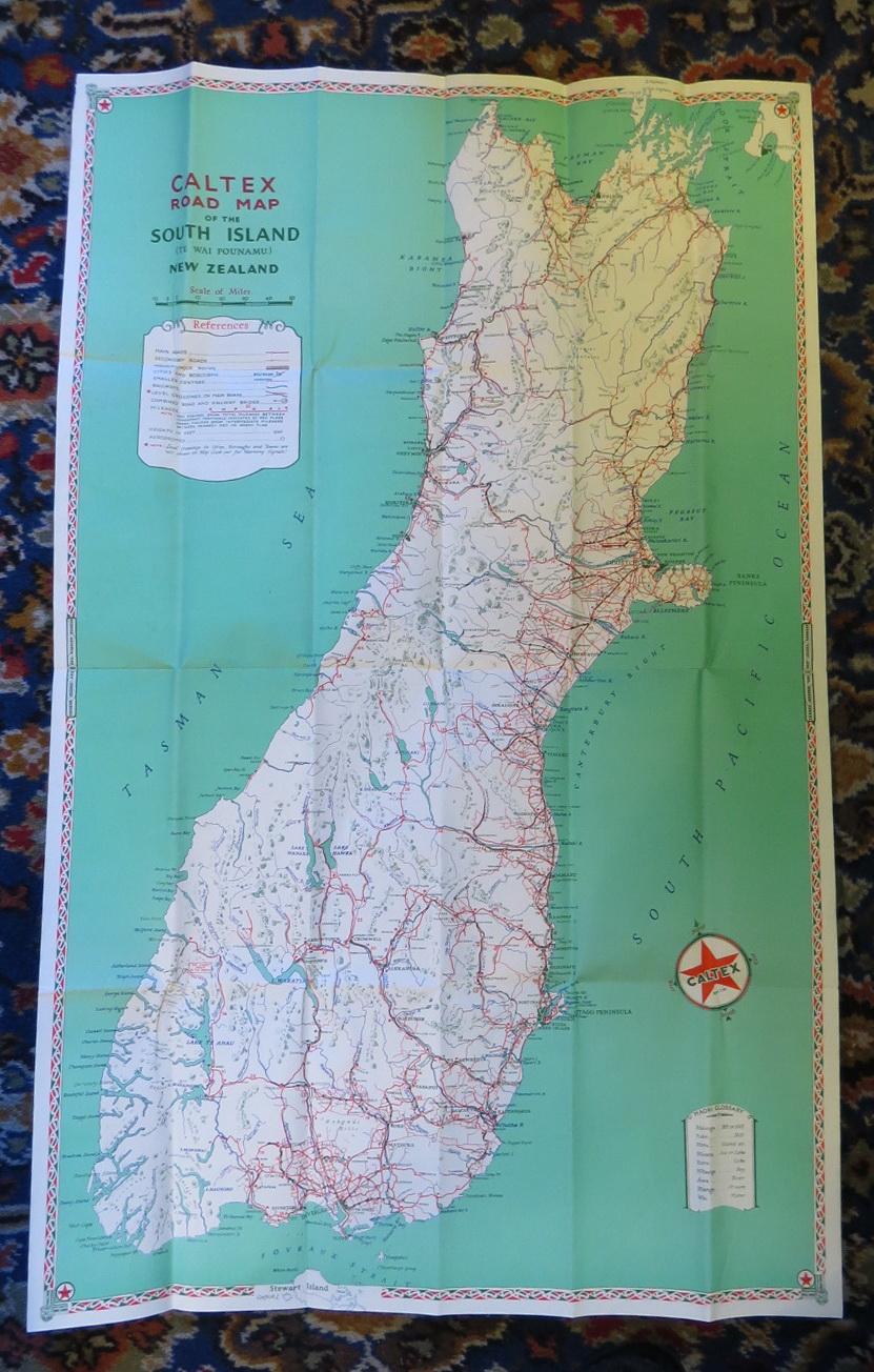 New Zealand Road Map.Caltex Road Map South Island Te Wai Pounamu New Zealand