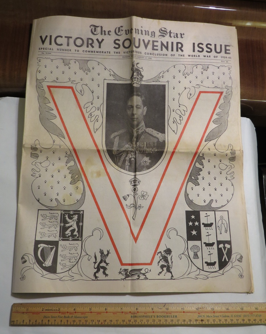 Image for The Evening Star - Victory Souvenir Issue - Special Number to Commemorate the Victorious Conclusion of the World War of 1939-45 - No. 25,564. - Dunedin, Friday, August 17, 1945. Price 2d.