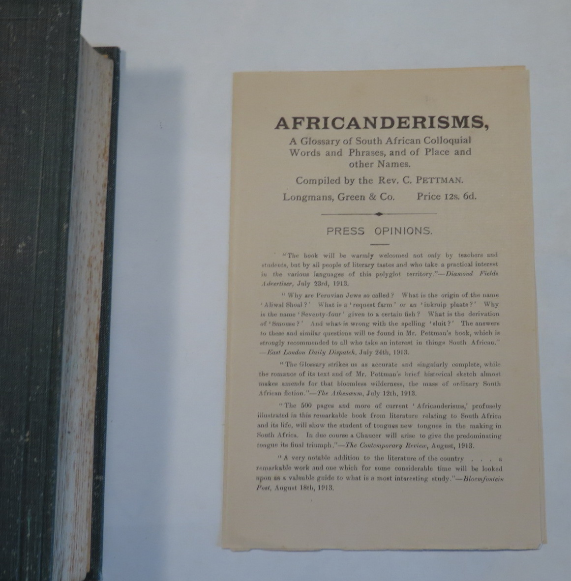 Image for Africanderisms - A Glossary of South African Colloquial Words and Phrases and of Place and Other Names