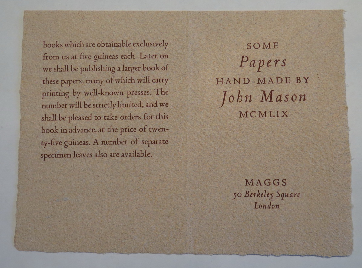 "Image for [Prospectus for 'Some Papers Hand-Made by John Mason MCMLIX""; *Prospectus only*]"