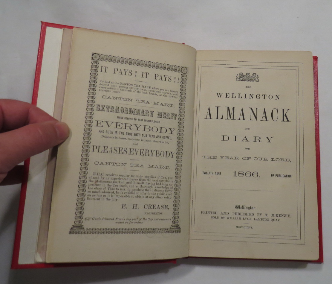 Image for The Wellington Almanack and Diary for the Year of Our Lord 1866. Twelfth Year of Publication.