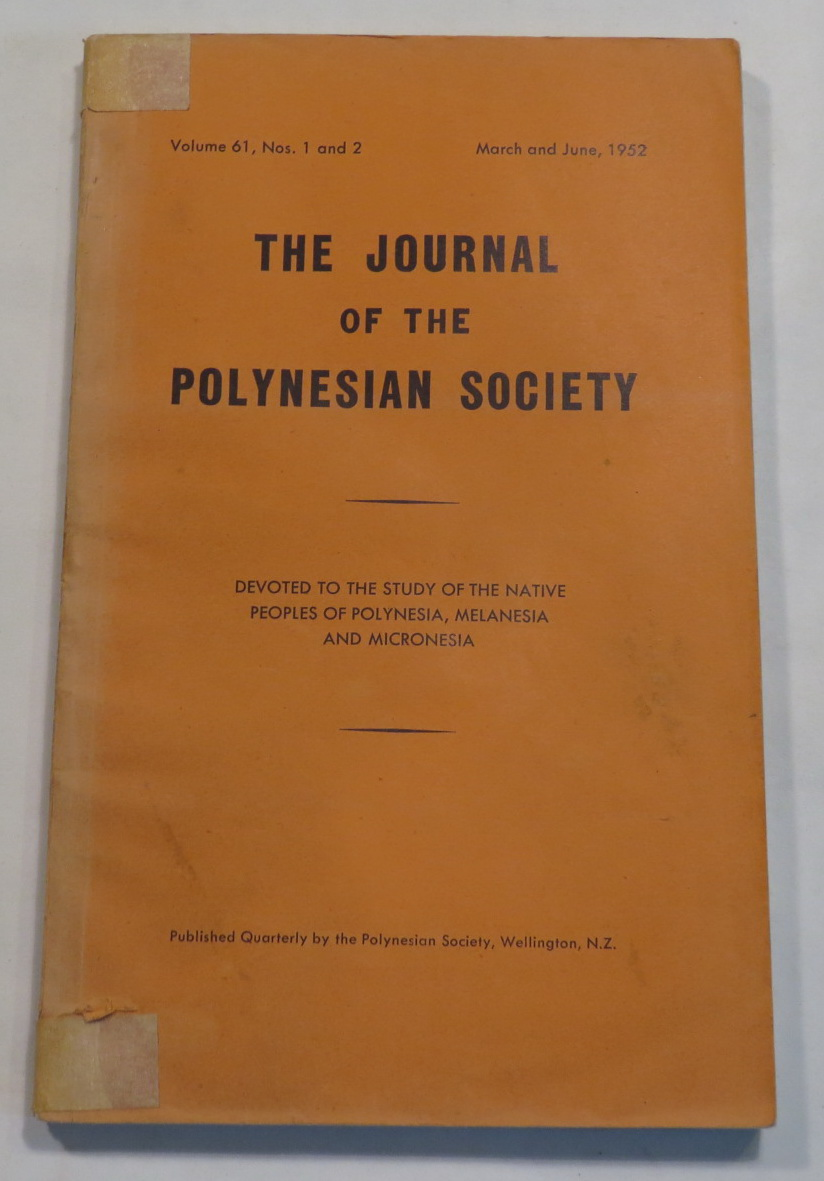 Image for Journal of the Polynesian Society. Vol 61, Nos. 1 and 2. March and June, 1952.