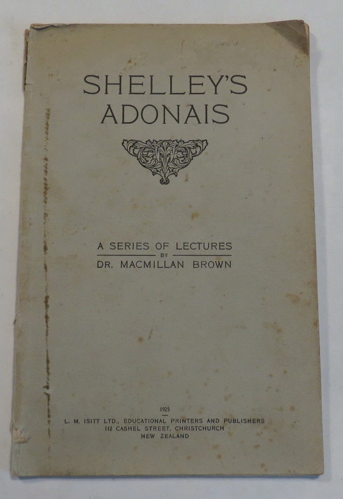 Image for Shelley's Adonais - A Series of Lectures by Dr. Macmillan Brown