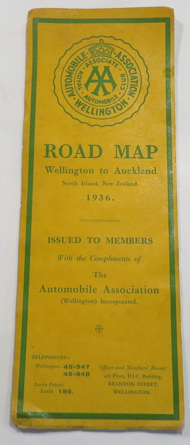 Image for Road Map - Wellington to Auckland - North Island, New Zealand. 1936.
