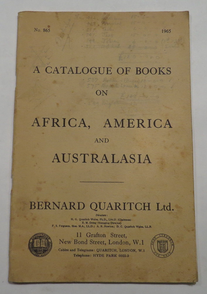 Image for A Catalogue of Books on Africa, America and Australasia - No. 865 - 1965