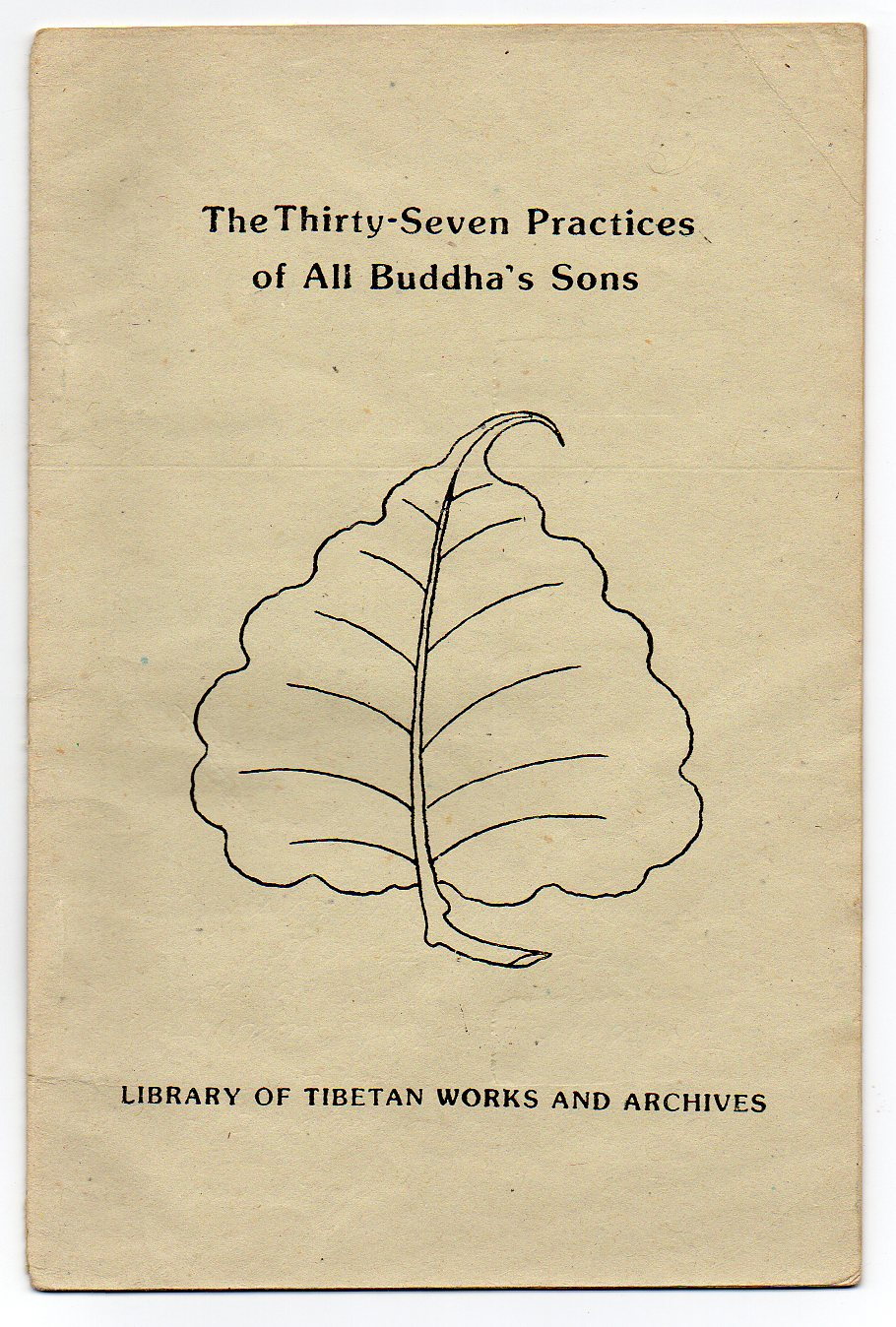 Image for The Thirty-Seven Practices of All Buddha's Sons - Revised translations of the Tibetan rGyal-sras lag-len so-bdun-ma by the Bodhisattva Thogs-med bzang-po and Thog-mtha'-ma by rJe Tzong-kha pa
