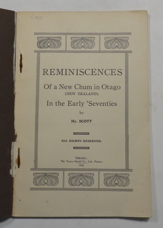 Image for Reminiscences Of A New Chum In Otago (New Zealand) In The Early 'Seventies