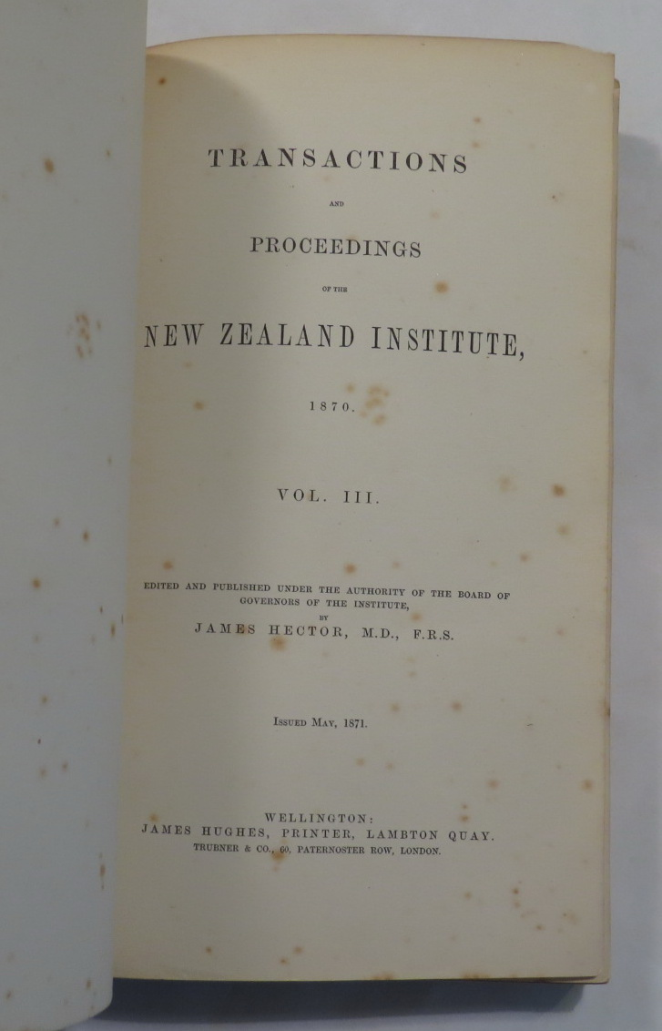 Image for Transactions And Proceedings Of The New Zealand Institute, 1870. Vol III
