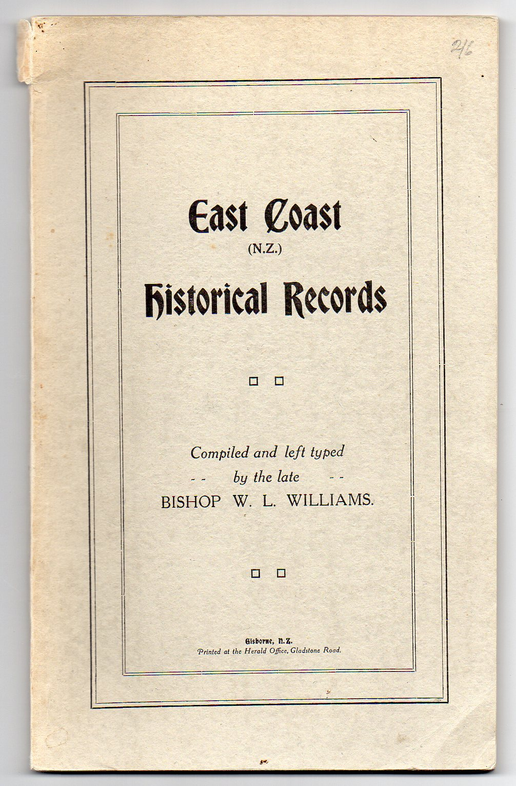 Image for East Coast (N. Z.) Historical Records