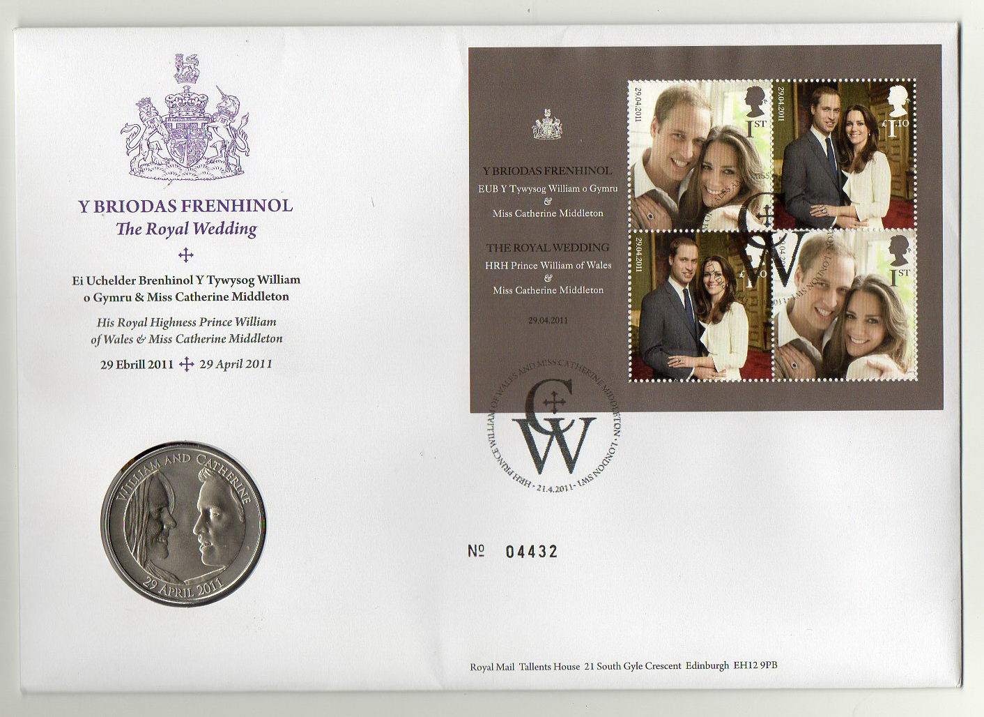 Image for Y Briodas Frenhinol - The Royal Wedding [First Day Cover + 5 pound coin inset in envelope]