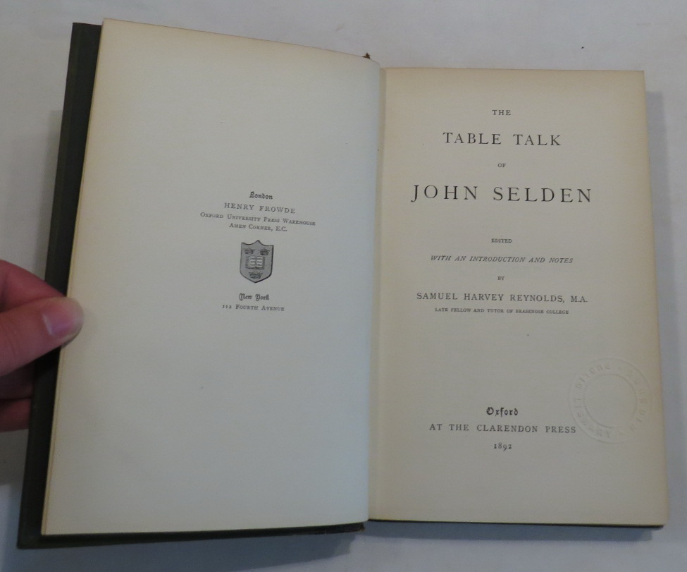 Image for The Table Talk of John Selden