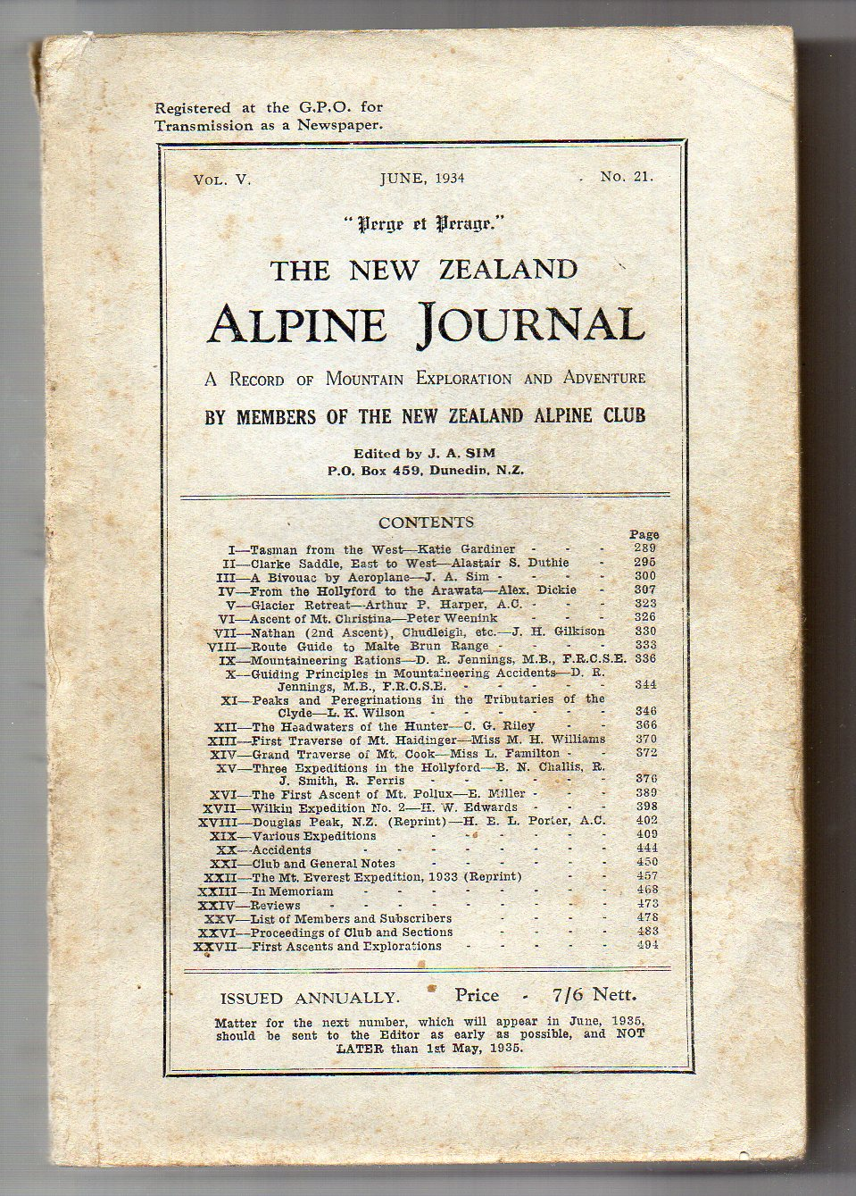 Image for The New Zealand Alpine Journal - June, 1934 - Vol. V, No. 21. A Record of Mountain Exploration and Adventure By Members of the New Zealand Alpine Club
