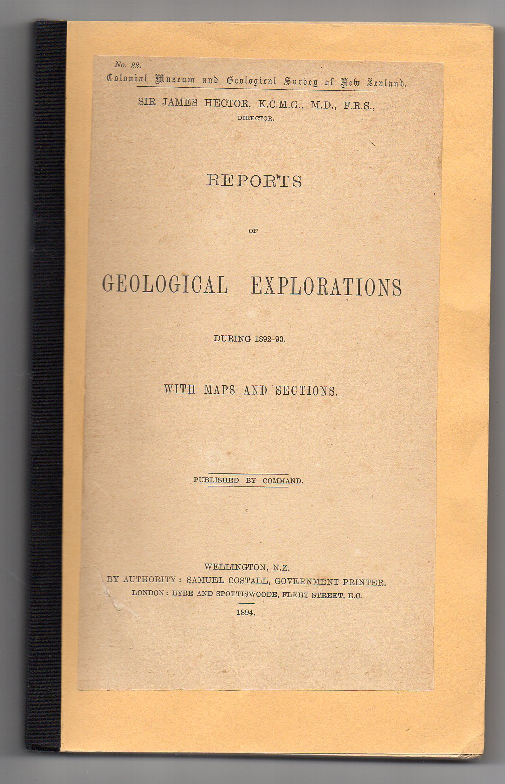 Image for Reports of Geological Explorations during 1892-93. With Maps and Sections.