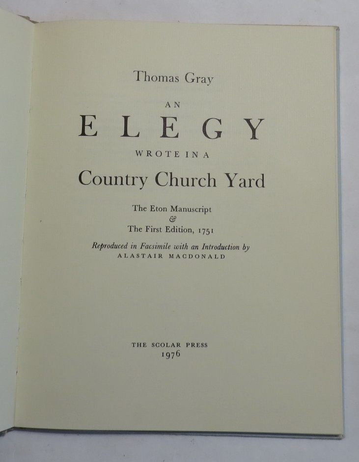 Image for An Elegy Wrote in a Country Church Yard - The Eton Manuscript & The First Edition, 1751