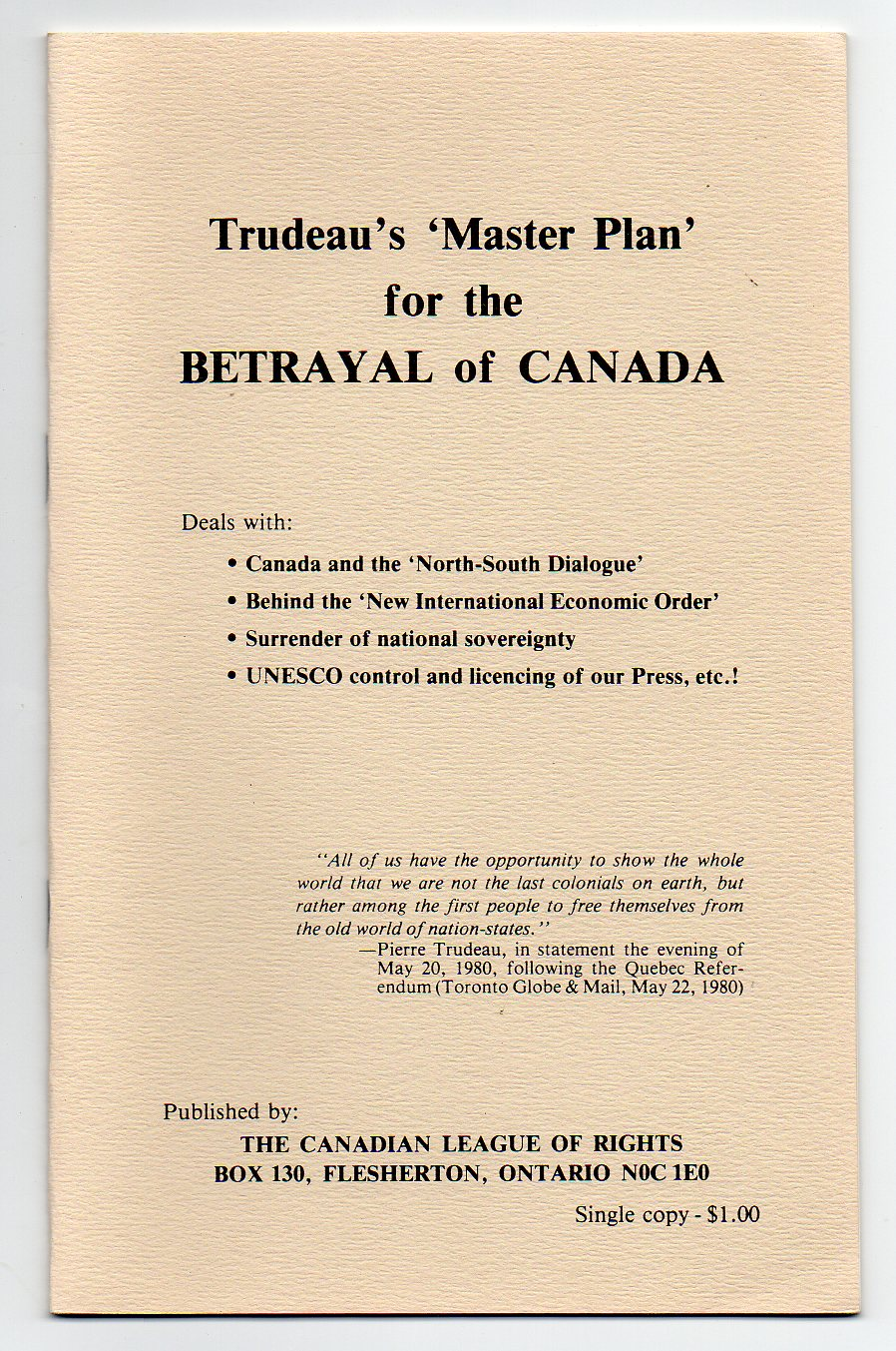 Image for Trudeau's 'Master Plan' for the Betrayal of Canada