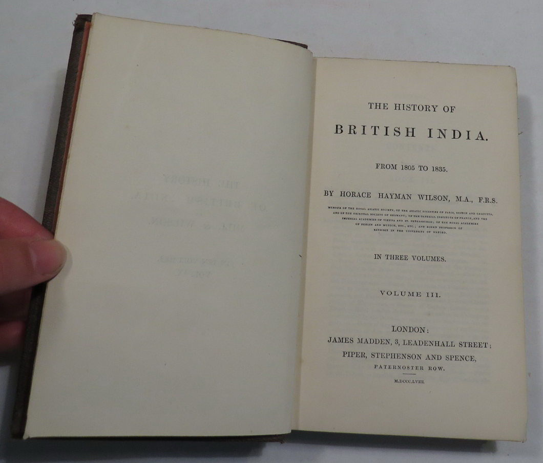 Image for The History of British India. From 1805 to 1835 - Volume III [Volume Three only]