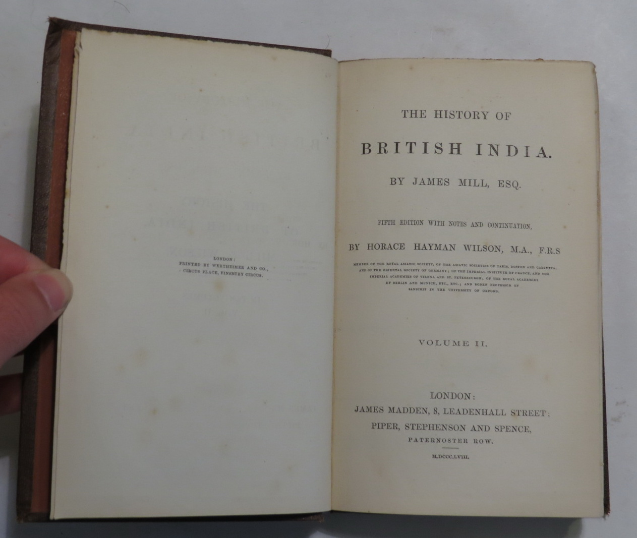 Image for The History of British India - Volume II [Volume Two only]