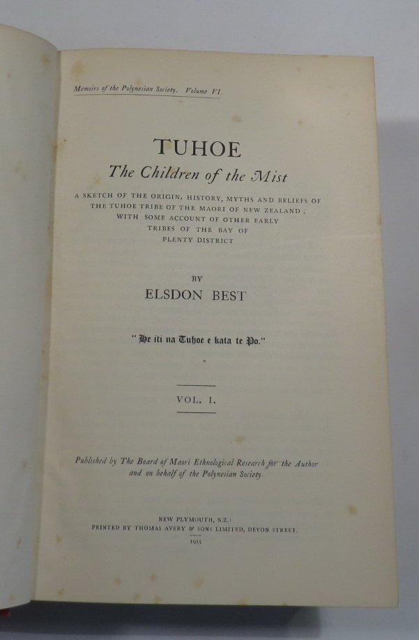 Image for Tuhoe - The Children of the Mist - A Sketch of the Origin, History, Myths and Beliefs of the Tuhoe Tribe of the Maori of New Zealand; with Some Account of Other Early Tribes of the Bay of Plenty District. [Two volumes]