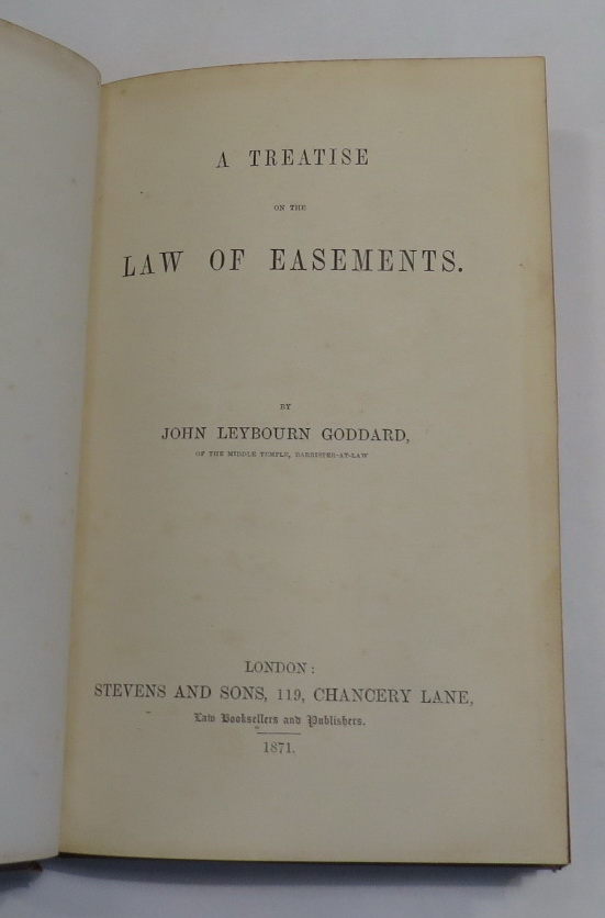 Image for A Treatise on the Law of Easements