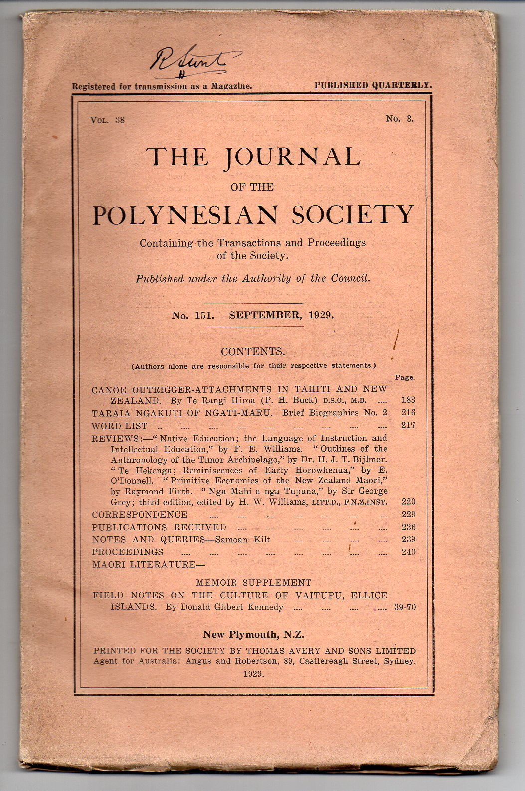 Image for The Journal of the Polynesian Society. No. 151. September, 1929 - Vol. 38, No. 3.