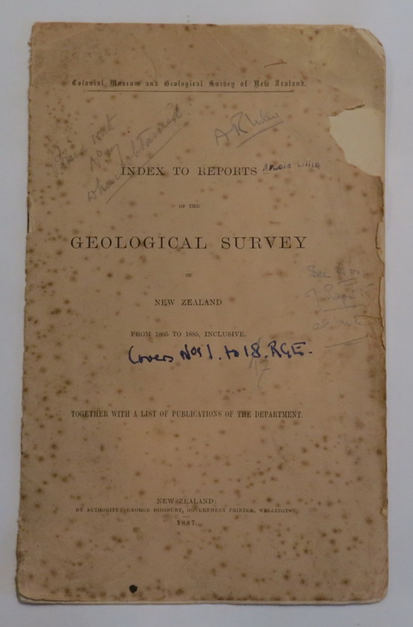Image for Colonial Museum and Geological Survey of New Zealand. Index to Reports of the Geological Survey of New Zealand from 1866 to 1885, Inclusive. Together with a List of Publications of the Department.