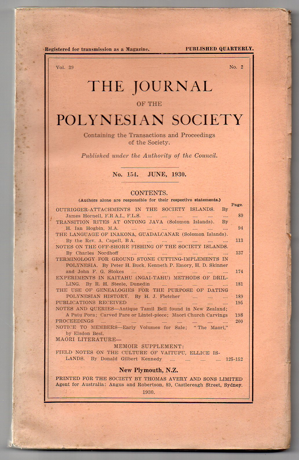Image for The Journal of the Polynesian Society. No. 154. June, 1930 - Vol. 39, No. 2.