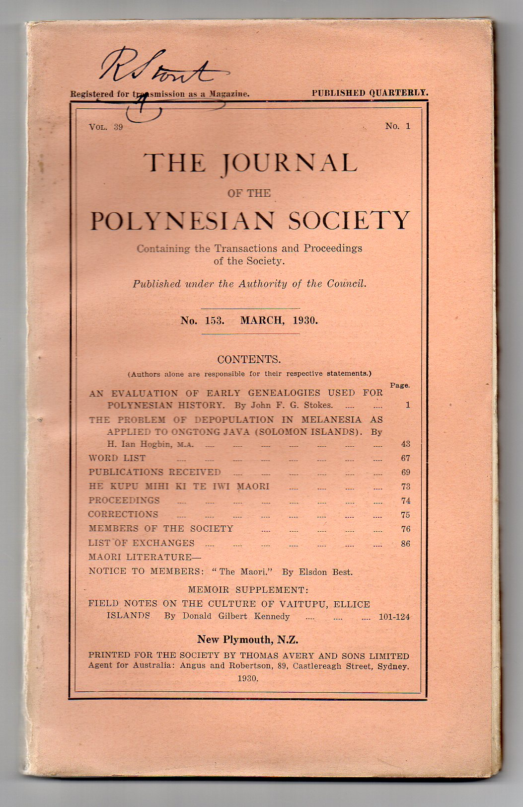 Image for The Journal of the Polynesian Society. No. 153. March, 1930 - Vol. 39, No. 1.