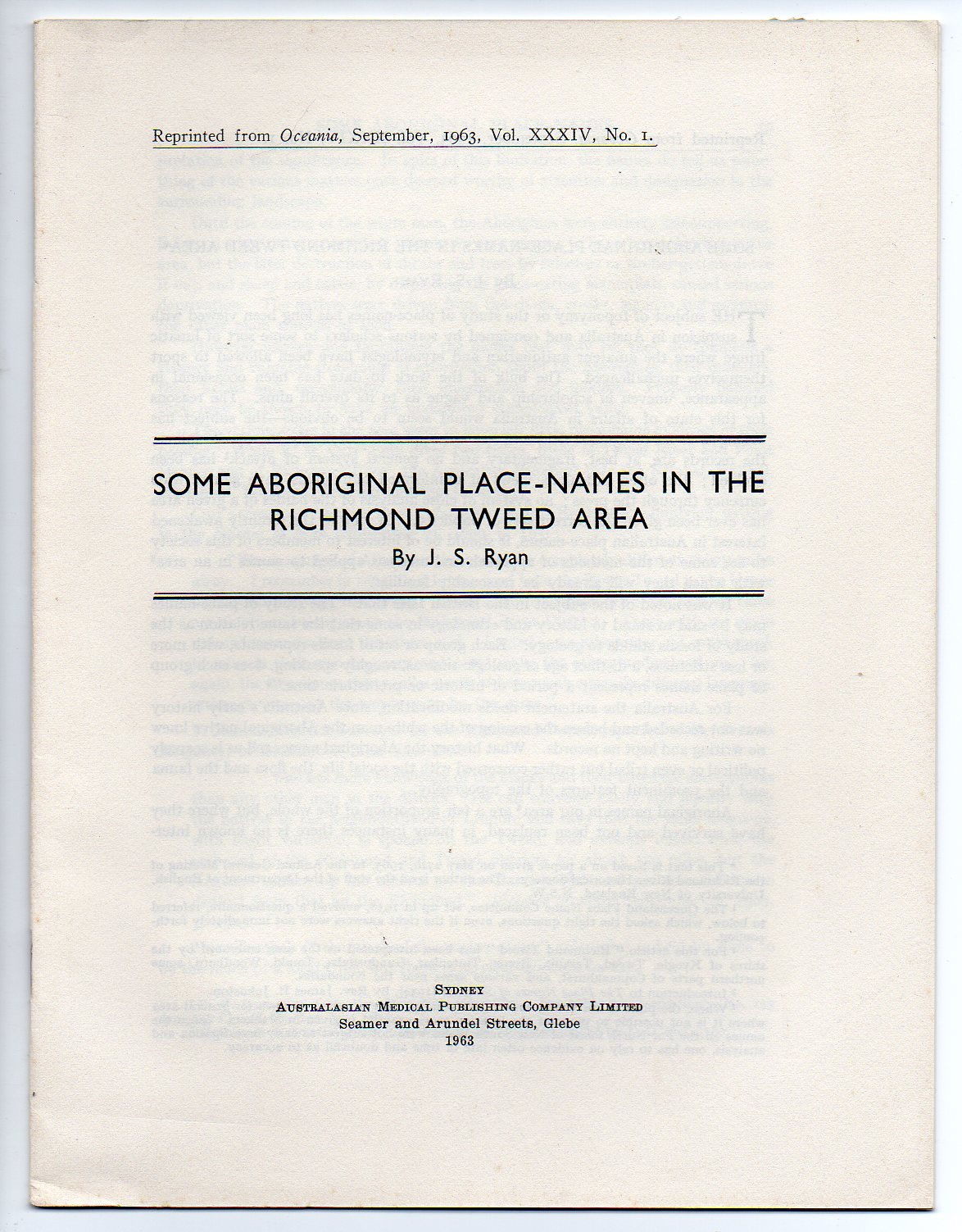 Image for Some Aboriginal Place-Names in the Richmond Tweed Area