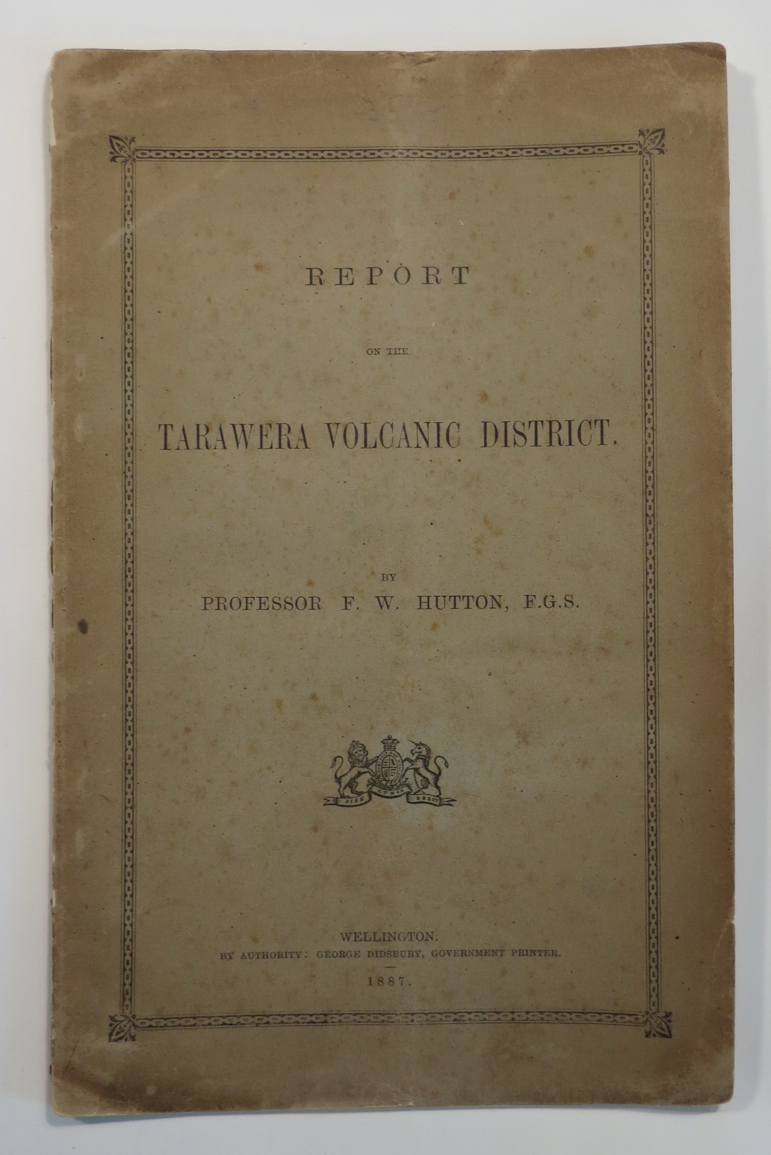 Image for Report on the Tarawera Volcanic District