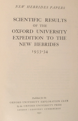 Image for New Hebrides Papers: Scientific Results of the Oxford University Expedition to the New Hebrides 1933-34