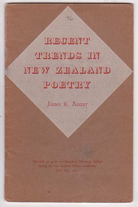 Image for Recent Trends in New Zealand Poetry