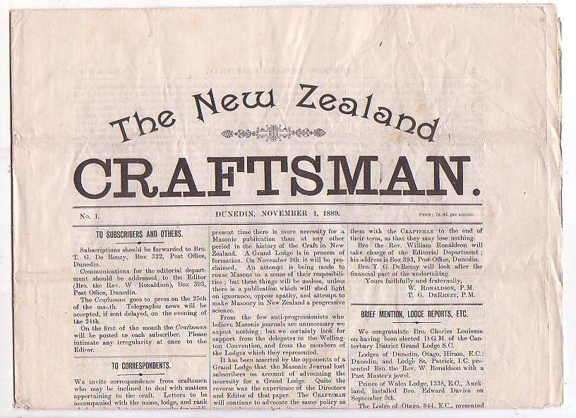 Image for The New Zealand Craftsman. No. 1. Dunedin, November 1, 1889.