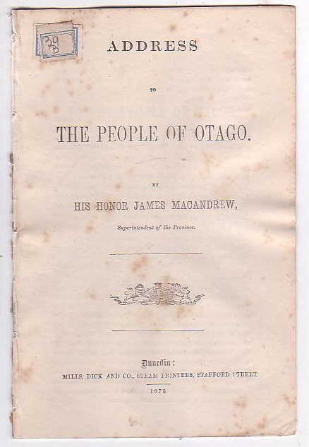 Image for Address to the People of Otago
