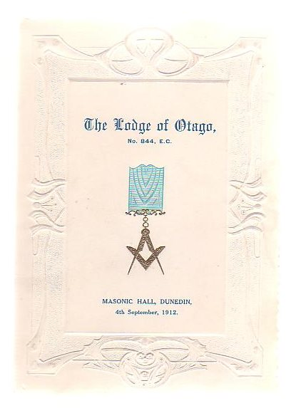 Image for The Lodge Of Otago, No. 844, E. C. Installation Of Bro. Robertson McIndoe As Worshipful Master And Investiture Of Officers.